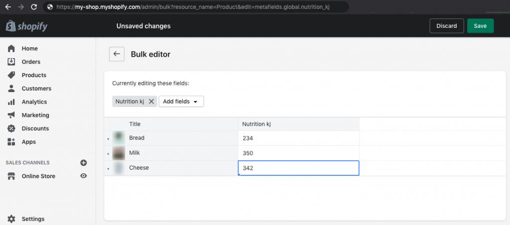 Custom Product Metafields Edit